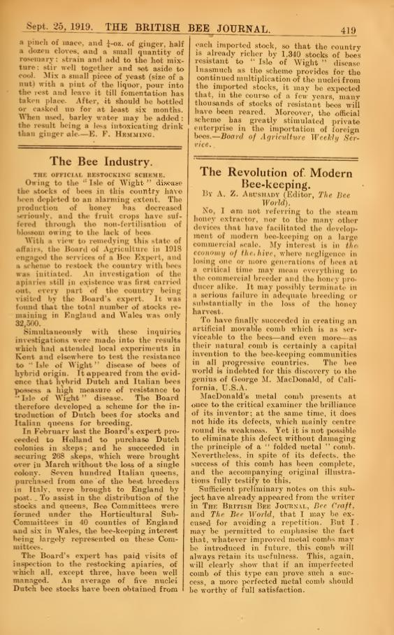 Britsh Bee Journal 1919 - from Andrew Hubbard